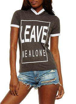 Leave Me Alone Graphic Ringer Top - 0302033870091