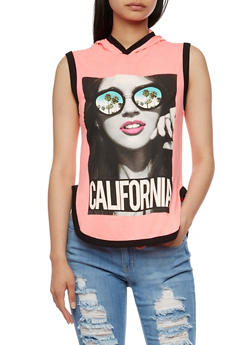 Sleeveless California Graphic Top with Hood - 0302033870761