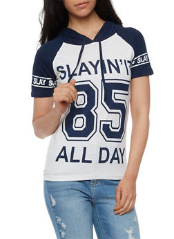 Slayin It Graphic Short Sleeve Hooded Top - 0302033870891