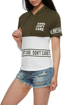 Kinda Dont Care Short Sleeve Graphic Top with Hood - OLIVE/WHT - 0302033870941