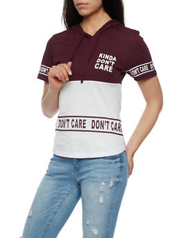 Kinda Dont Care Short Sleeve Graphic Top with Hood - 0302033870941