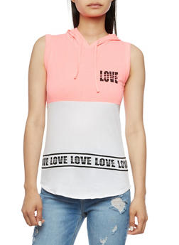 Sleeveless Love Graphic Top with Hood - 0302033871041