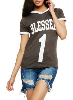 Blessed 1 Graphic Short Sleeve Ringer Top - 0302033871371