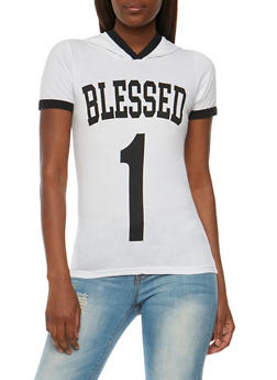 Blessed 1 Graphic Short Sleeve Ringer Top - WHITE - 0302033871371