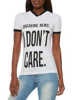 I Dont Care Graphic Hooded Top - WHITE - 0302033871431