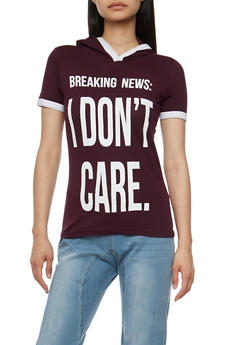 I Dont Care Graphic Hooded Top - 0302033871431