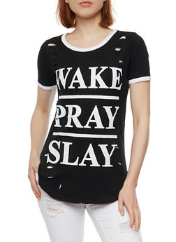 Slay Graphic Lasercut Ringer T Shirt - BLACK - 0302033872591