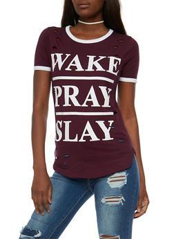 Slay Graphic Lasercut Ringer T Shirt - 0302033872591