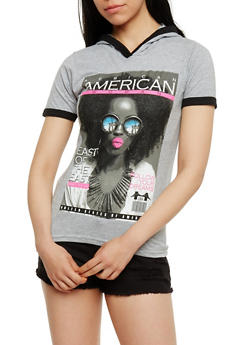 American Woman Graphic Hooded Top - 0302033873241
