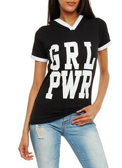 Grl Power Graphic Hooded Ringer Top - BLACK - 0302033874551