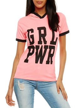 Grl Power Graphic Hooded Ringer Top - 0302033874551