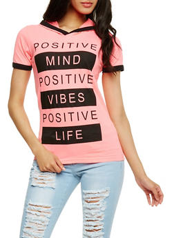 Positive Vibes Graphic Hooded Top - 0302033875151