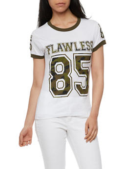 Flawless 85 Graphic Ringer T Shirt with Slashed Back - 0302033876181