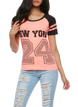 New York 24 Graphic Raglan Top - 0302033876226