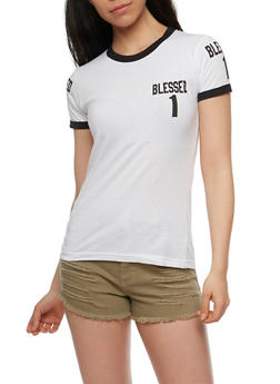 Blessed 1 Graphic T Shirt with Contrast Trim - WHITE - 0302033877200