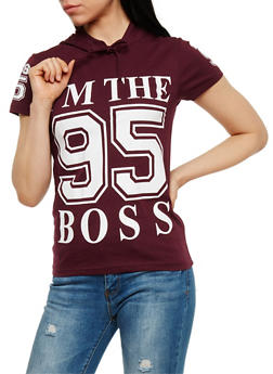 Boss Graphic Short Sleeve Hooded Top - PLUM - 0302033877686