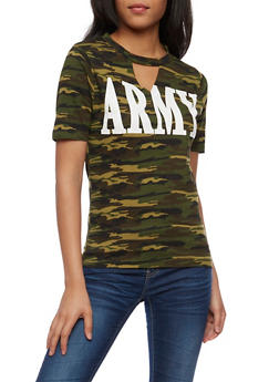 Army Graphic Keyhole T Shirt - 0302033877723