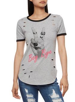 Laser Cut Boy Bye Graphic T Shirt - 0302033879012