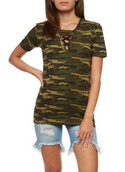 Camo Lace Up Keyhole T Shirt - 0305033872731