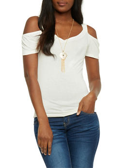 Solid Cold Shoulder Top with Necklace - IVORY - 0305038347026