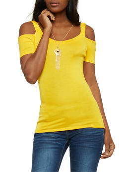 Solid Cold Shoulder Top with Necklace - 0305038347026