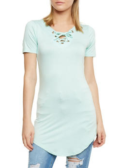 Short Sleeve Lace Up Tunic Top - 0305038347104