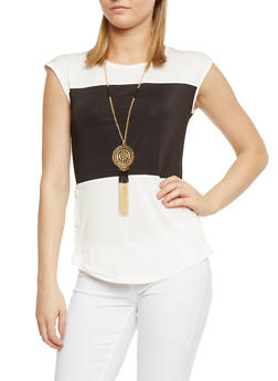 Colorblock Button Detail Top with Necklace - IVY/BLK - 0305038347181
