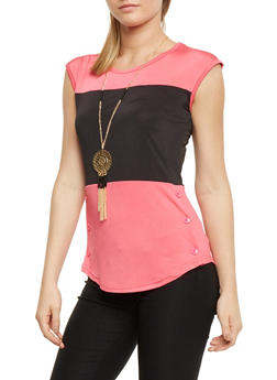 Colorblock Button Detail Top with Necklace - 0305038347181