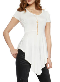 Short Sleeve Asymmetrical Tunic Top with Necklace - IVY/BLK - 0305038347194