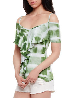 Tie Dye Ruffle Front Cold Shoulder Top - OLIVE - 0305038347278