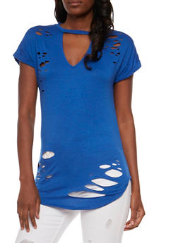 Short Sleeve Lasercut Tunic Top with Keyhole - 0305058758175