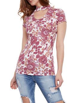 Short Sleeve Floral Choker Top - 0305067330098