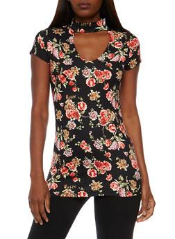 Floral  V Neck Choker Neck Top - 0305067330099