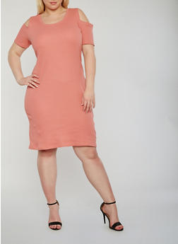 Plus Size Cold Shoulder Rib Knit T Shirt Dress - 0390015050459