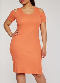 Plus Size Cold Shoulder Rib Knit T Shirt Dress - 0390015050459