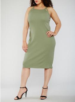 Plus Size Rib Knit Tank Dress with Cutouts - 0390015050722