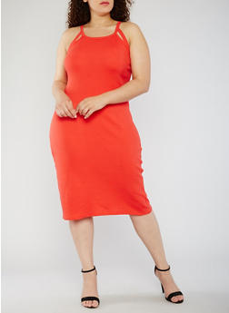 Plus Size Rib Knit Tank Dress with Cutouts - 0390015050722
