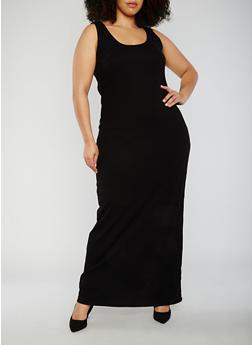 Plus Size Sleeveless Scoop Neck Maxi Tank Dress - 0390015050725