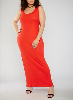 Plus Size Sleeveless Scoop Neck Maxi Tank Dress - 0390015050725