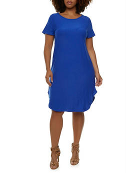 Plus Size Jersey Shift Dress with Scoop Neck - 0390015050726