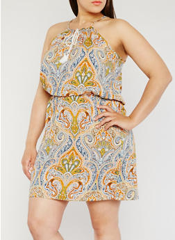 Plus Size Sleeveless Paisley Print Dress - 0390038340706