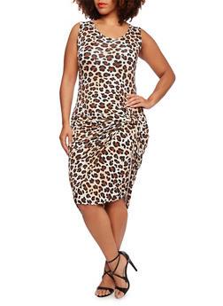 Plus Size Cheetah Print Tank Dress with Drape Front Hem - 0390038346120