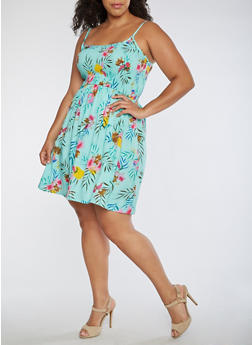 Plus Size Smocked Tropical Tank Dress - 0390038346717