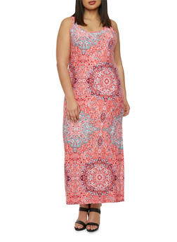 Plus Size Racerback Maxi Dress with Paisley Print - 0390038346748
