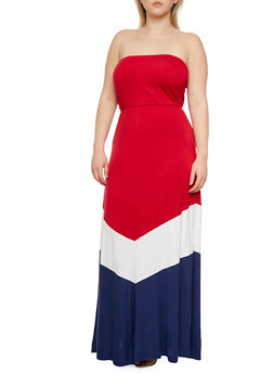 Plus Size Strapless Maxi Dress in Colorblock - 0390038346767