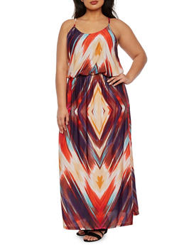Plus Size Empire Waist Maxi Dress with Brushed Stripes Print - 0390038346789
