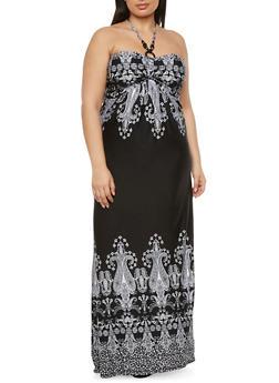Plus Size Beaded Halter Maxi Dress in Bandana Print - 0390038346790