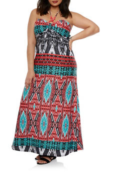 Plus Size Halter Maxi Dress with Beads and Geo Print - 0390038346794