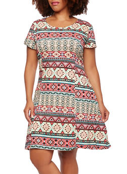 Plus Size Aztec Print Skater Dress - 0390038346805