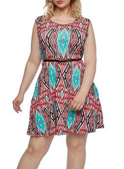 Plus Size Ikat Print Skater Dress with Removable Skinny Belt - 0390038346815